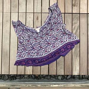 Band Of Gypsies | Purple Floral Print Crop Top